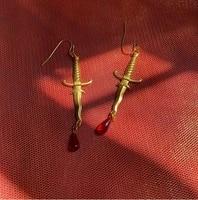 dagger earrings with red bloodknife earringsred drop earringhorror jewelry