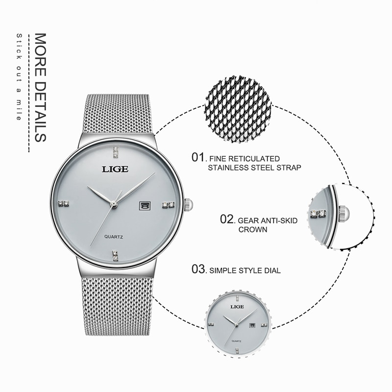 Women Dress Watches Luxury Brand Ladies Quartz Watch Stainless Steel Mesh Band Rose Gold Waterproof Ladies Watch reloj mujer enlarge