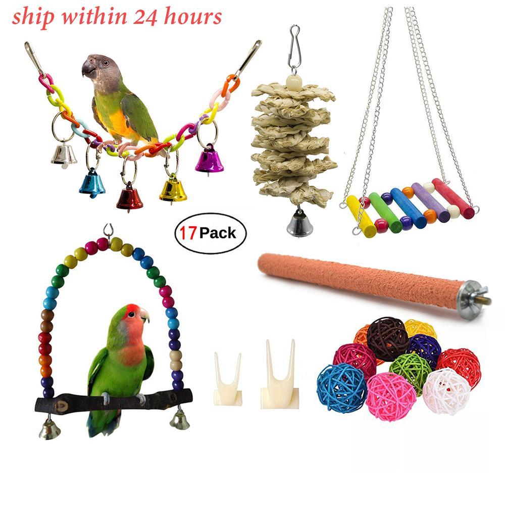 17 paquetes de aves loros de juguete juguetes de masticar columpio-juguetes colgantes de jaula de campana de pájaros adecuados para pequeños periquitos, Macaws pájaros enamorados