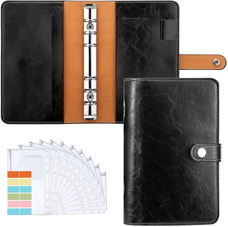 A6 Money Binder PU Leather Budget Binder Refillable 6 Ring Binder, Money Orgnaizer with 12 PCS Label Pocket Cash Envelopes