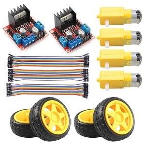 L298N Motor Drive Controller Board Stepper Motor Control Module Dual H-Bridge with DC Motor Wheel for Arduino