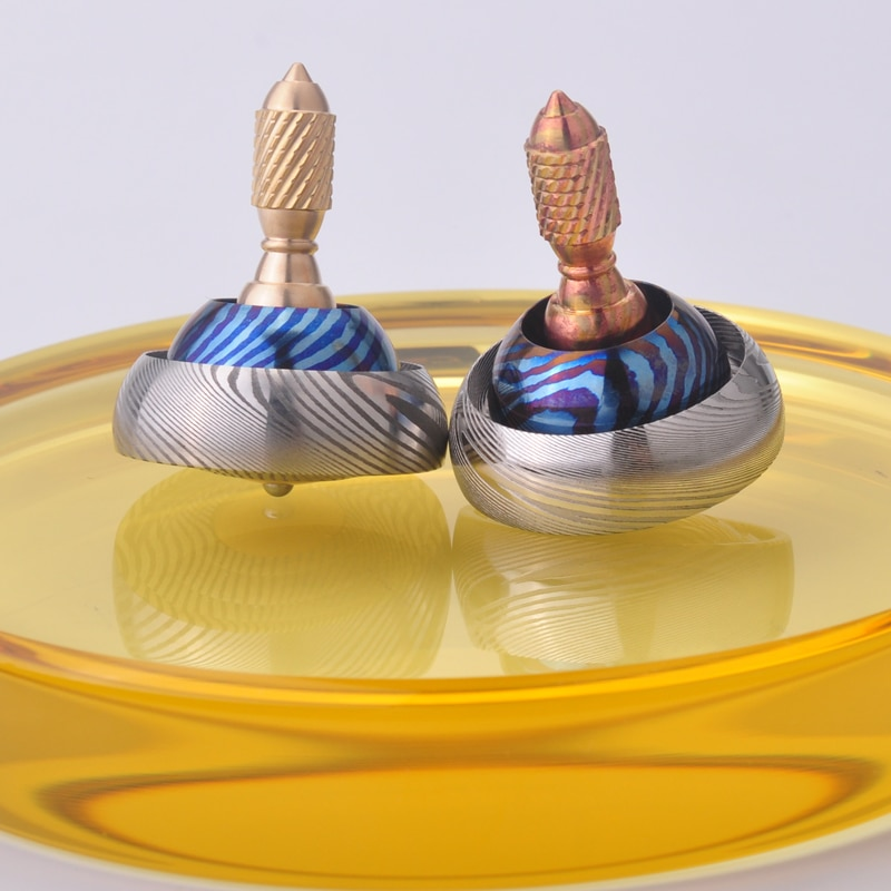 Collection UFO hand twist top titanium horse Damascus hand hold copper horse fingertips adult EDC toys fidget toys enlarge