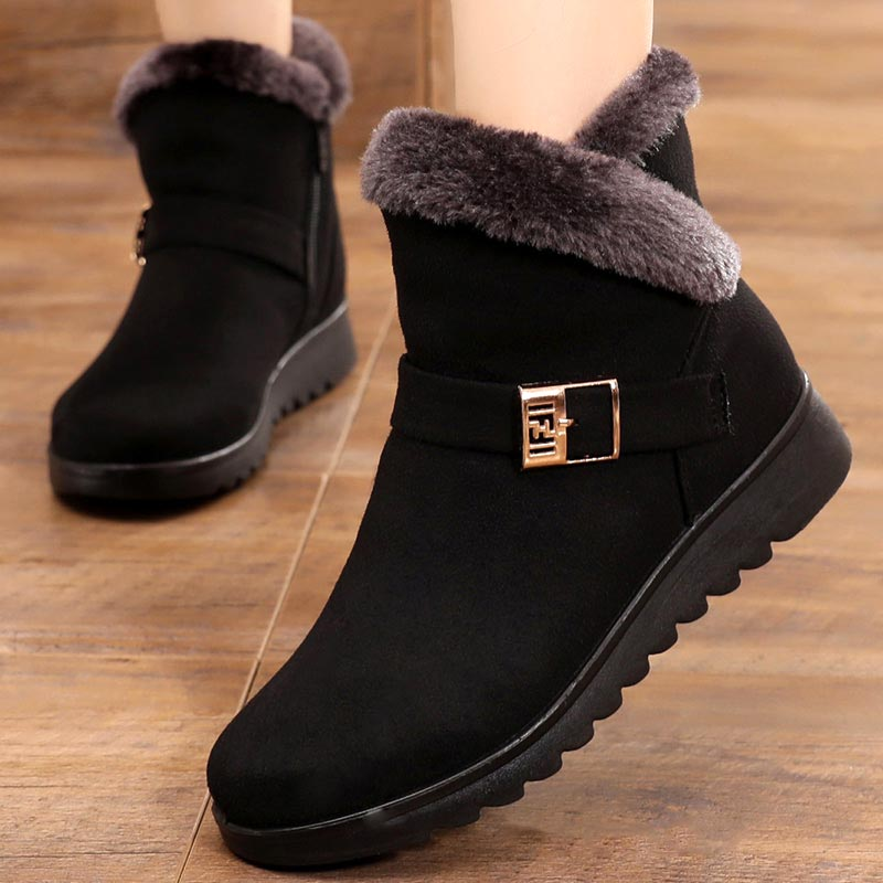 Winter boots women shoes 2021 solid flat plush warm snow boots women shoes zipper platform ankle boots casual shoes woman snow boots women shoes 2020 warm plush waterproof casual shoes woman mid calf winter platform shoes women boots zapatos de mujer