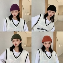 INS Watermelon Knitted Woolen Cap Women's Autumn and Winter Yupi Landlord Melon Skin Beanie Hat Kore