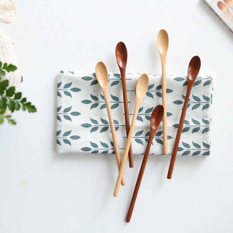 5Pcs/Lot Solid Wooden Coffee  Stirring Spoons Beech Ice Cream Spoon Dessert Cake Scoop Tableware Kitchen Restaurant Supplies