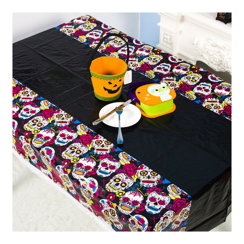 Mantel de calabaza/Calavera, mantel blanco, accesorio para fiesta de HALLOWEEN