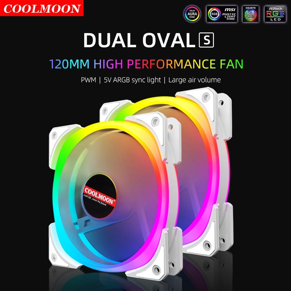 Coolmoon 120mm ARGB LED Light PC Computer Case Fan Cooling Cooler 12V Mute 4Pin PWM Heatsink 5V 3Pin RGB Radiator Accessories