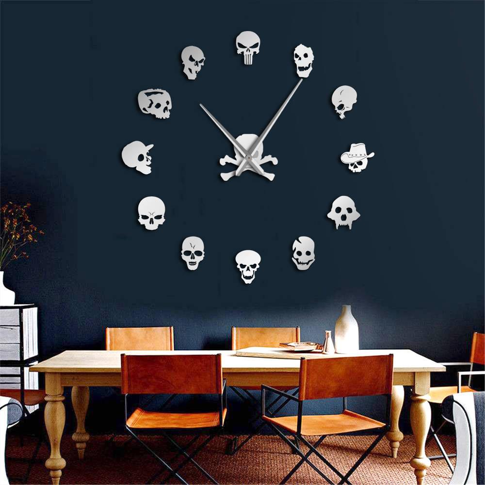 Different Skull Heads DIY Horror Wall Art Giant Wall Clock Big Needle Frameless Zombie Heads Large Wall Watch Halloween Decor