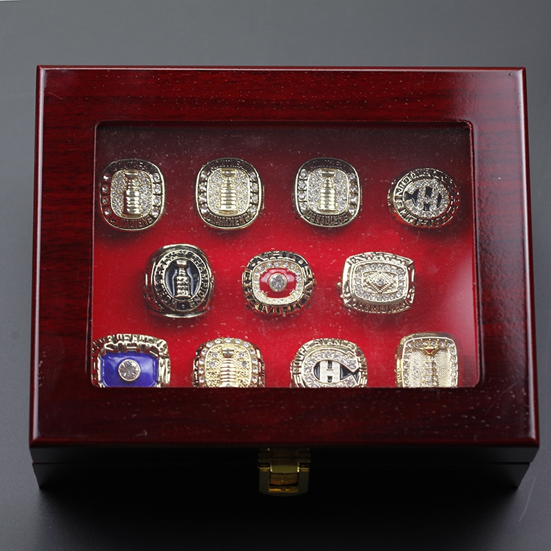 Luxury Ice Hockey Championship Ring Set Vintage Gold Luxury Men's Rings for Men Crystal Rings Birthday Gift Ideas Free Shipping