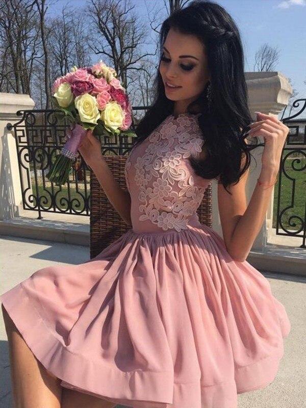 2020 elegante baile vestido a linha/princesa bateau chiffon apliques sem mangas curto/mini vestidos para festa