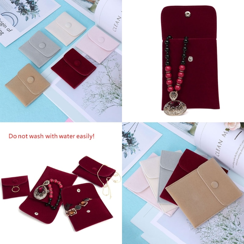 10 estilos de bolsa de almacenamiento de joyería portátil suave pelusa terciopelo franela pulsera collar bolsa de regalo