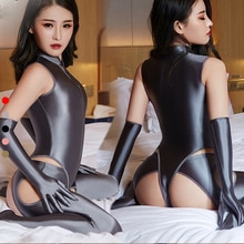 DROZENO Glossy silky cloth Super sexy matching three piece set; hollow leggings, gloves, zipper jump