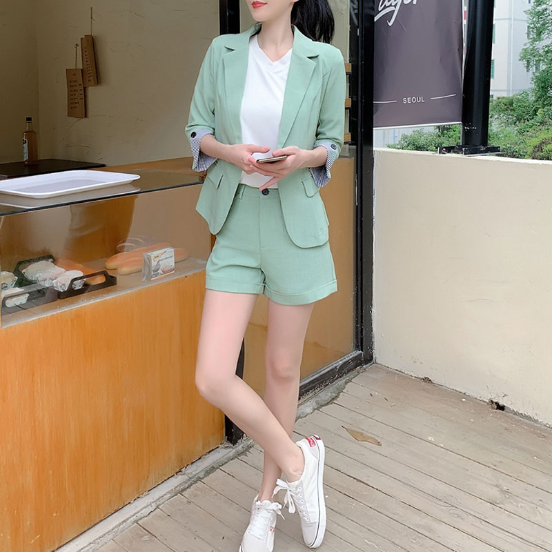2020 Summer Fashion Elegant Office Lady Blazer Suits Women Sets Two Piece Half Sleeve Slim Notched Jacket&Shorts Pants Suit