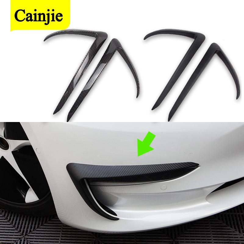 2pcs Car Styling Front Fog Lamp Frame Cover Blade Trim For Tesla Model 3 2017-2021 Accessories Light Decoration