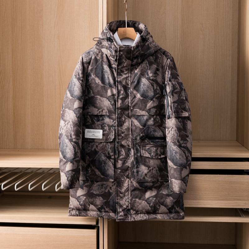 2021 Man's Duck Down Overcoat Male Windbreaker Jacket Padded Puffy Parkas Hooded Waterproof Printed Winter Clothing Multi Pocket