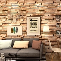 5 3 square meters 3d stereo warm splice wood brick wallpaper personalized english letter in broken wood brick pvc wall paper walls art decor home store theme walls covering