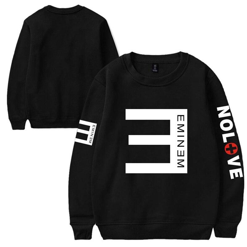 ¡Novedad de 2019! Suéter de cuello redondo suelto de terciopelo con estampado de letras de EMINEM NOLOVE, envío directo de invierno para hombres y mujeres jóvenes
