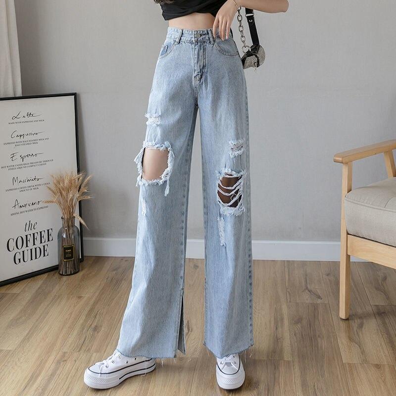 Джинсы женские с завышенной талией, прямые свободные брюки с широкими штанинами, приталенные, светлые, весна-осень 2021
