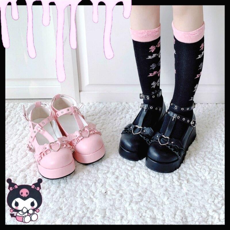 Platform Lolita Kawaii Pu Shoes Bowknot Demon Dark Goth Punk Devilian Little Bat Style Loli Cosplay High Heel 5.5cm