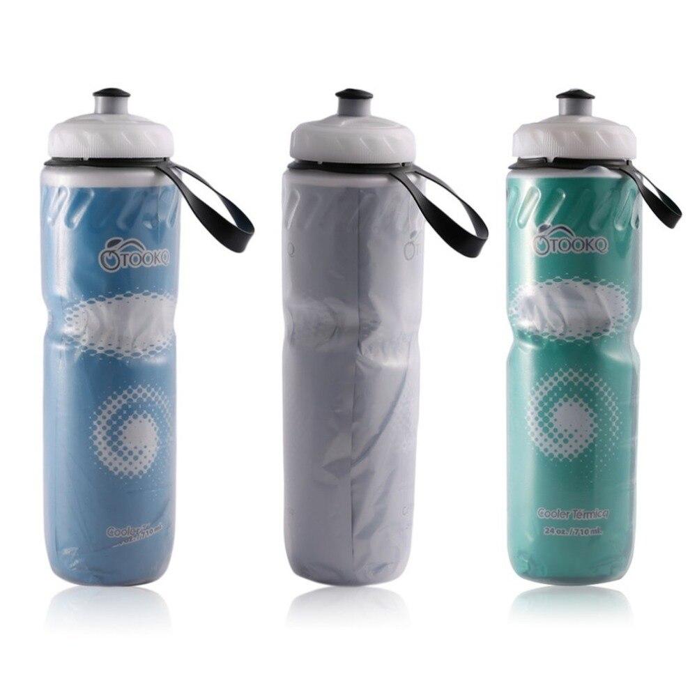 Botella de agua portátil para exteriores, con aislamiento, de 710ml y 24 onzas, para bicicleta, deporte de ciclismo, botella reciclable