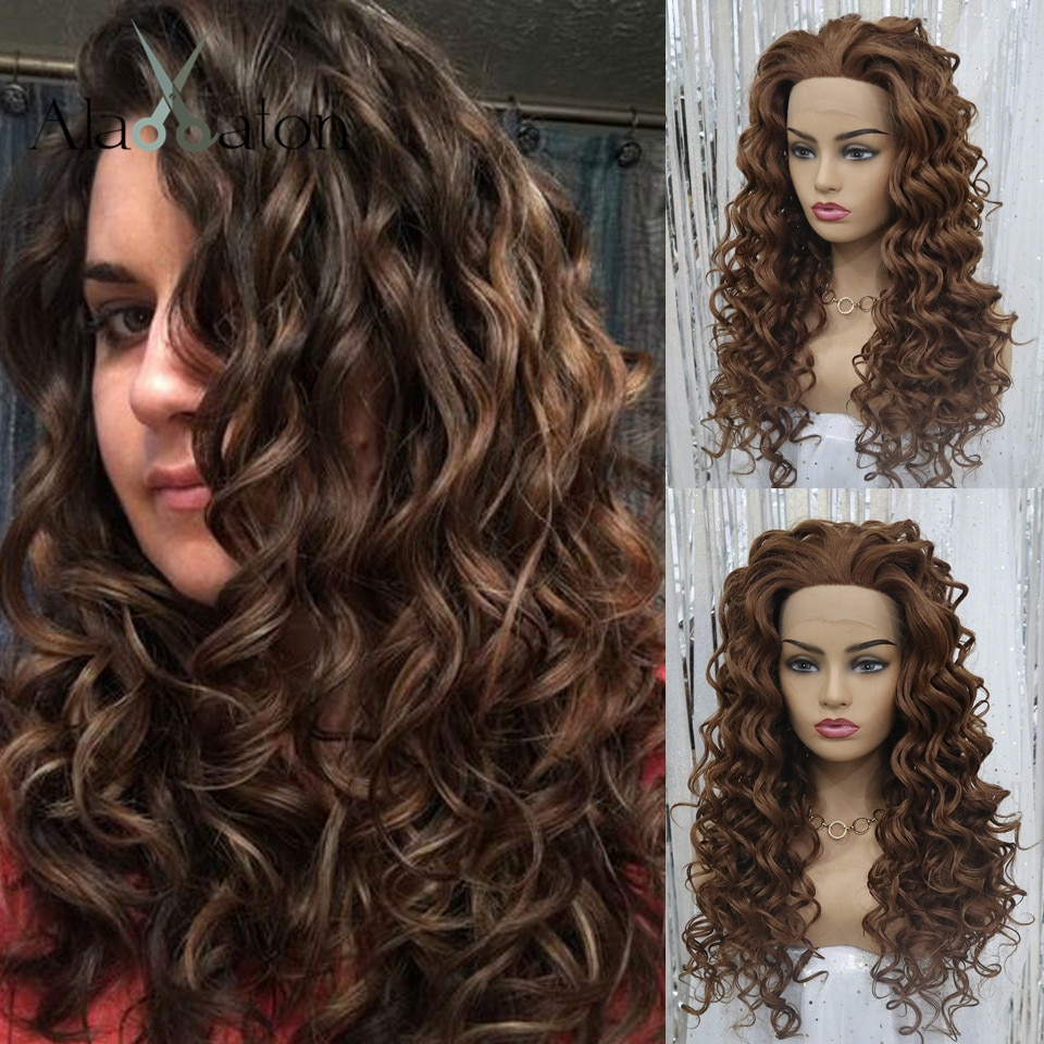 Pelucas de pelo sintético con encaje frontal de ALAN EATON, peluca con ondas sueltas, pelucas marrones oscuras de fibra resistente al calor para mujeres negras, pelucas Afro para Cosplay