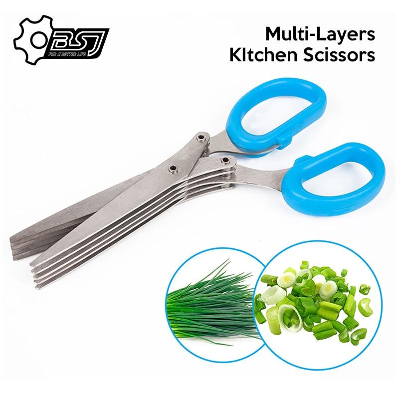 Многофункциональные Многослойные ножи из нержавеющей стали, многослойные кухонные ножницы, резак для трав, специи, инструмент для приготов...