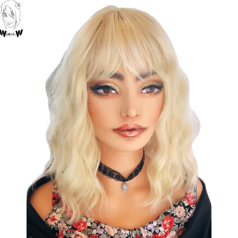 WHIMSICAL W 12 inch Blonde Short Body Wave Wigs Synthetic Wig For Women With Bangs fringe Natural Heat Resistant Hair