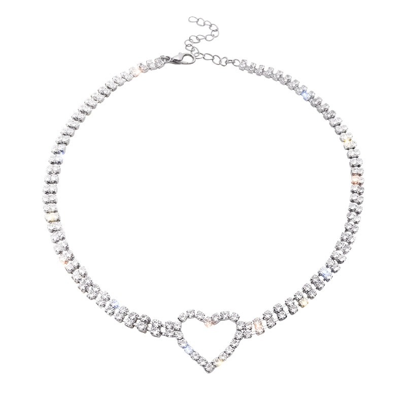 ARLIE Shiny Crystal Small Heart Choker Necklaces for Women Geometric Rhinestone Necklaces New Fashion Girls Party Jewelry Gifts  - buy with discount