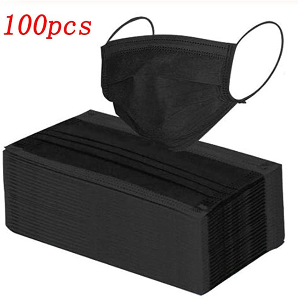 100pcs Black Disposable Non-woven Fabric Mask Face Mask Fashion Breathable 3 Layers Mouth Cover Hall