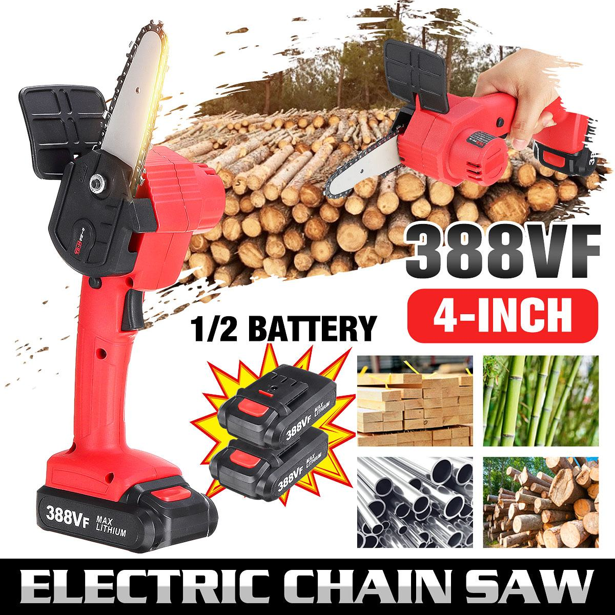 6 inch 1200w mini electric chain saw with battery indicator 128vf 388vf rechargeable woodworking tool for makita 18v battery 4 Inch 388VF 21V Mini Electric Chain Saw Mini Pruning Saw Chain Saws Rechargeable Woodworking Tool With 1/2 Lithium Battery