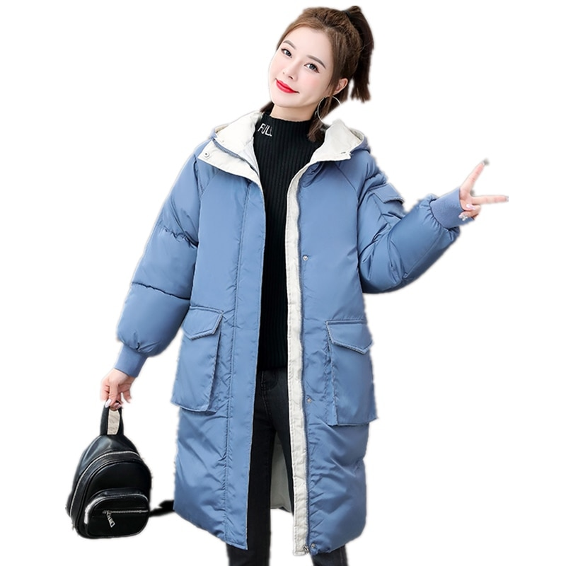 Women's Cotton Padded Jacket 2020 Winter Jacket Women's Mid Length Down Jacket Cotton Padded Jacket Bread Jacket Thick Coat Hood