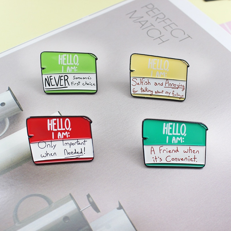 XEDZ note enamel pin HELLO, I AM greetings about friends special importance backpack lapel popular badge brooch jewelry  - buy with discount