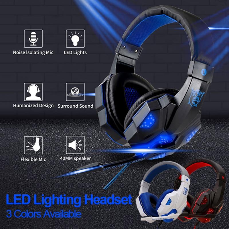 Wired Gaming Headphone PC Gamer Headset w/ Mic LED Light Auriculares Cascos Audifonos Słuchawki Cuffie Phone Laptop Auricolari