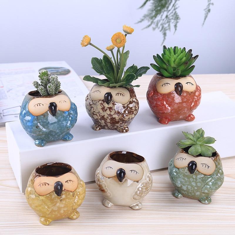 WCIC Cute Owl Multi-flower Pots Suit Exquisite Small Home Decor Porcelain Animal Birdie Flower Pot Series Mini Pots Ornaments
