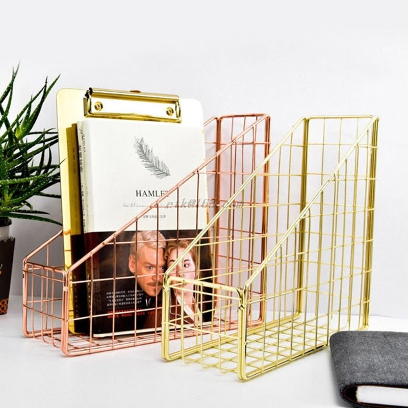 Nordic Wrought Iron Grid File Holder Simple Single Layer Desk Shelf Magazine Book Storage Rack Home Office Stationery Organizer