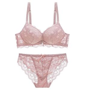 Sexy Elegant Lace Cotton Women See Through Push up Underwire Padded Bra Bowknot Briefs Set