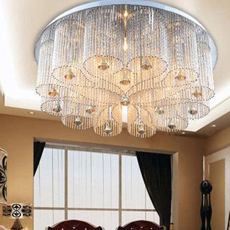luxury E14 LED crystal light ceiling lamp for living room bedroom round lamparas de techo with remote control