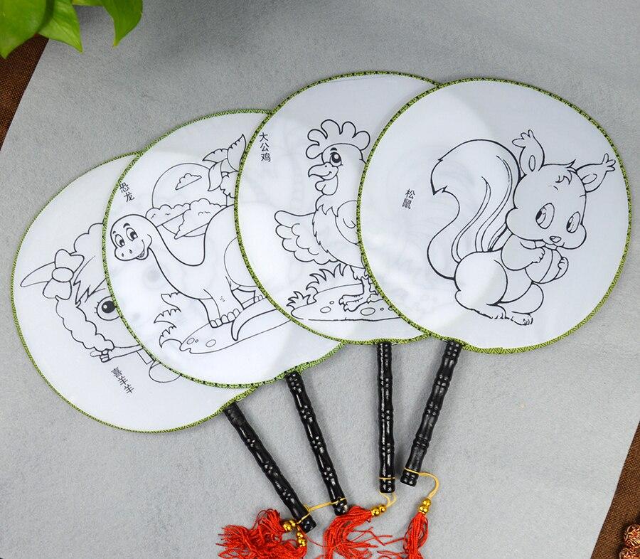 Круглый Вентилятор для детей, сделай сам, ручная роспись, пустой вентилятор, белый вентилятор, вентилятор охлаждения, вентилятор для детско...