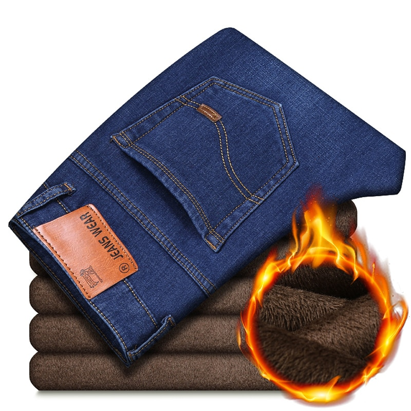 Новинка Осень-зима 2021, мужские теплые джинсы с флисовой подкладкой, деловые повседневные свободные прямые Стрейчевые джинсовые брюки, Брен...