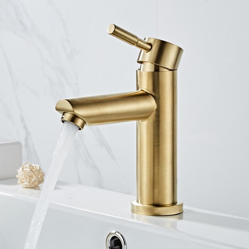 حوض صنبور الحمام الساخن Cold واحدة رافعة بالوعة صنبور 304 فرشاة من الفولاذ المقاوم للصدأ الذهب رافعة الموضة