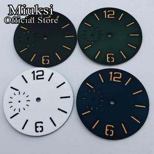 Miuksi 38.5mm black white blue green sandwich watch dial luminous dial fit ETA 6497 or Seagull ST3600 movement