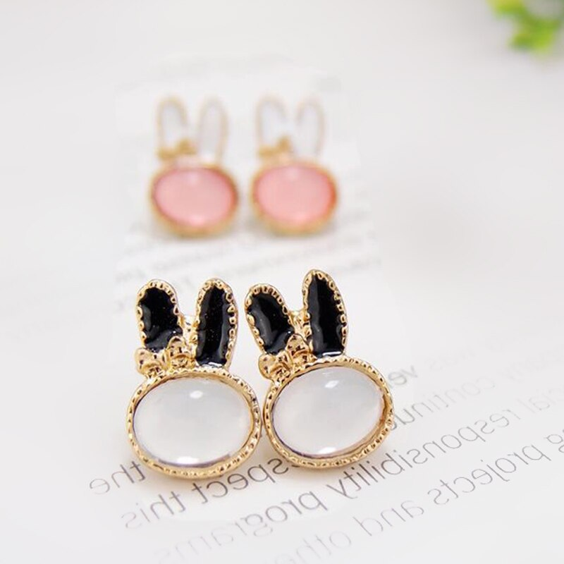 Bonitos pendientes de conejo románticos para mujer, joyería de alta calidad 925, pendientes redondos chapados en plata con diamantes de imitación