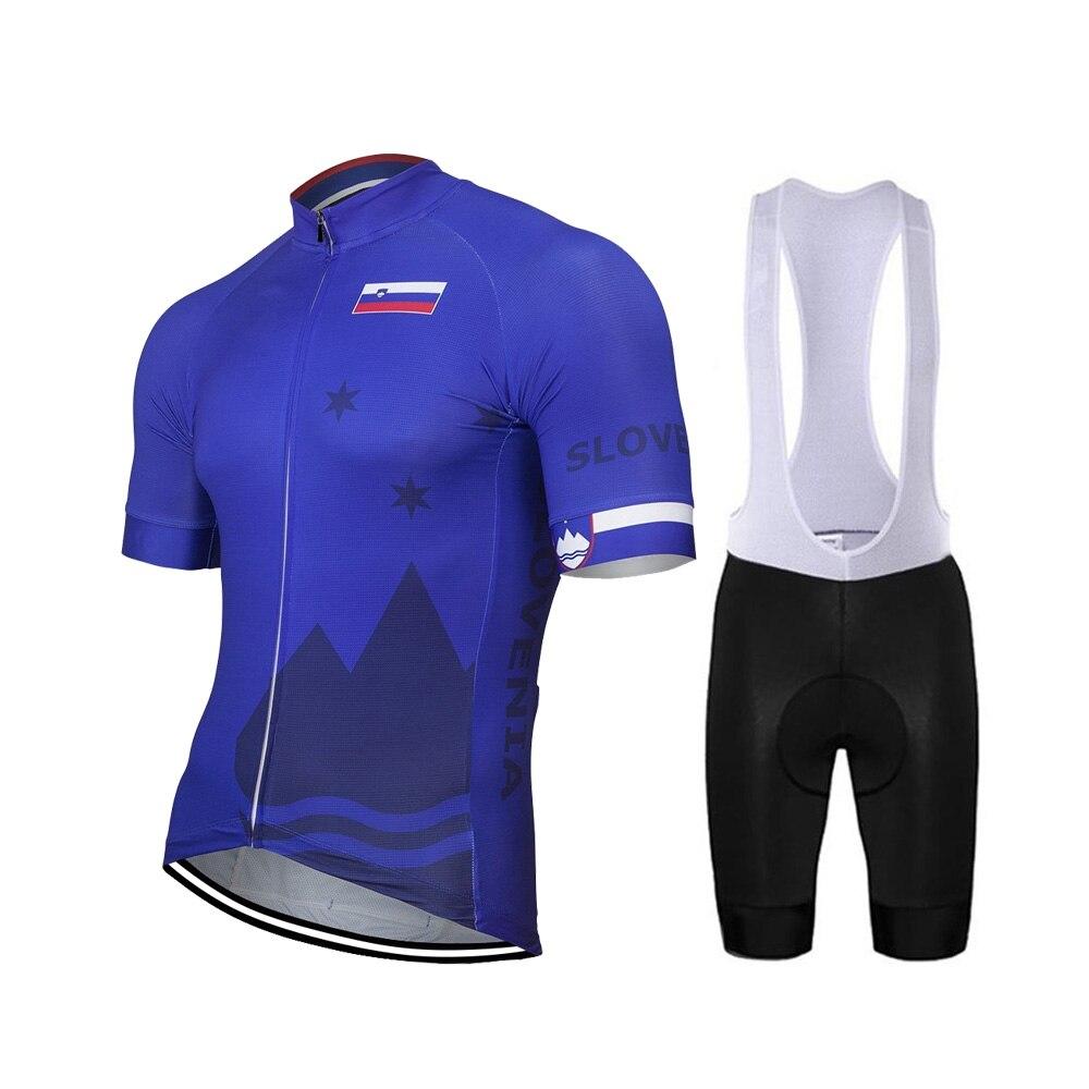 2020 eslovénia novo verão azul conjunto camisa de ciclismo dos homens bicicleta estrada montanha corrida topos bicicleta wear bib curto respirável 9d gel