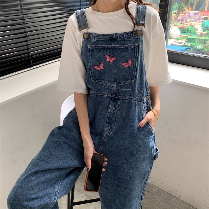 Zaraing 2021 Korean Causal Y2K Women Jeans Jumpsuits Butterfly Embroidery Straight Rompers Summer Demin Loose Bodysuits 7163