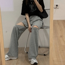 Spring and Autumn 2021 New Ripped Gray Trousers Women's Loose All-Match High Waist Straight Wide-Leg