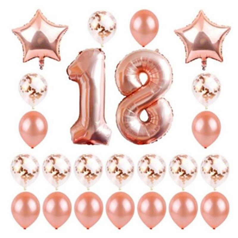 24 Teile Los Them1618 20 40 50 60 Th Geburtstag Party Dekorationen Happy Birthday Balloons Rose Gold Anzahl Ballons Ballons Kinder Erwachsene Ballons Accessories Aliexpress