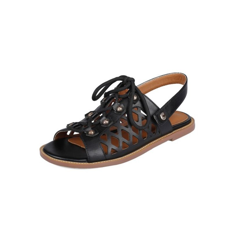 Women Sandals Summer Genuine Leather Flat Shoes 2021  New Rivets Lace Up Hollow Out Casual Sexy Peep Toe Large Size 34-43