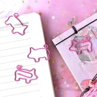 4 pcslot pig animal pink bookmark paper clip school office supply escolar papelaria gift stationery