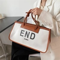 high quality fashion ladies letter printing large capacity one shoulder underarmbag2021canvas portable briefcase korean tote bag