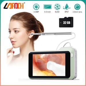 1080P HD 3.9mm Digital Otoscope Ear Camera with 5 Inch LCD Screen Ear Scope Otoscopes Inspection Endoscope Ear Wax Removal Tool